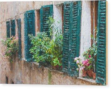 Cortona Window Flowers Wood Print