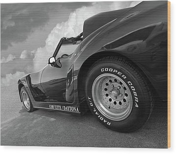 Wood Print featuring the photograph Corvette Daytona In Black And White by Gill Billington