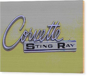 Corvette Emblem Wood Print by Audrey Venute
