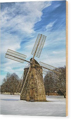 Wood Print featuring the photograph Corwith Windmill Long Island Ny Cii by Susan Candelario