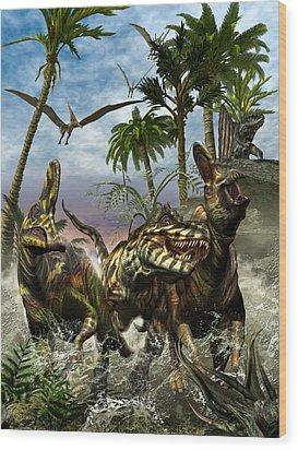 Corythosaurus Last Run Wood Print by Kurt Miller