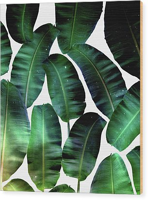 Cosmic Banana Leaves Wood Print by Uma Gokhale