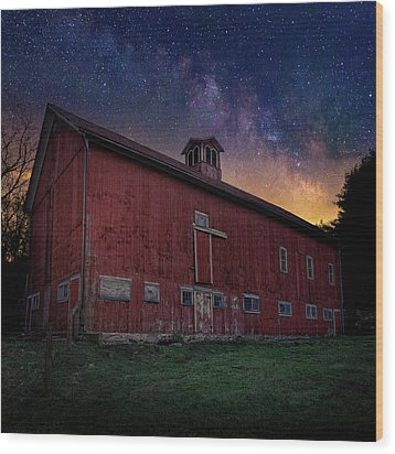 Wood Print featuring the photograph Cosmic Barn Square by Bill Wakeley