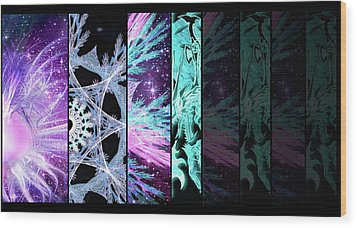 Wood Print featuring the mixed media Cosmic Collage Mosaic Left Side Flipped by Shawn Dall