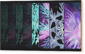 Wood Print featuring the mixed media Cosmic Collage Mosaic Left Side by Shawn Dall