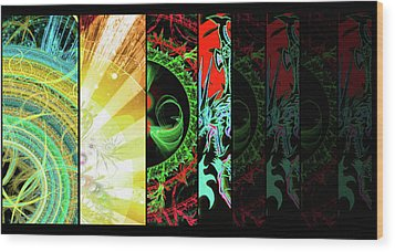 Wood Print featuring the mixed media Cosmic Collage Mosaic Right Side by Shawn Dall