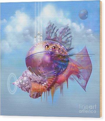Cosmic Fish Spaceship Wood Print by Alexa Szlavics