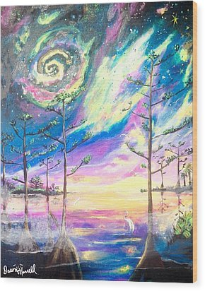 Wood Print featuring the painting Cosmic Florida by Dawn Harrell