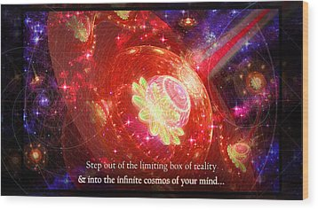 Wood Print featuring the mixed media Cosmic Inspiration God Source by Shawn Dall