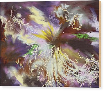 Wood Print featuring the digital art The Flowering Of The Cosmos by Amyla Silverflame