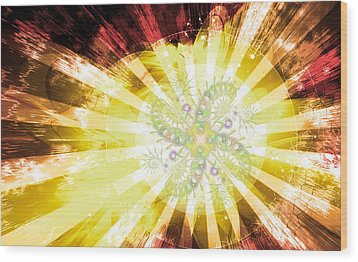 Cosmic Solar Flower Fern Flare 2 Wood Print