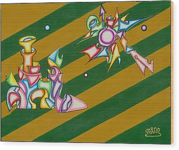 Cosmic Steamship Wood Print by            Gillustrator