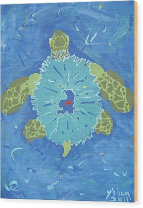 Cosmic Turtle Wood Print by Yshua The Painter