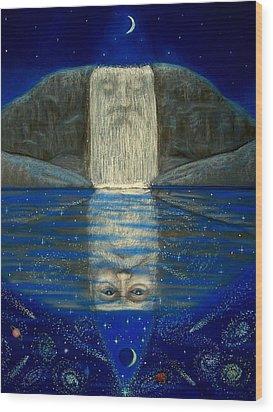 Cosmic Wizard Reflection Wood Print by Sue Halstenberg
