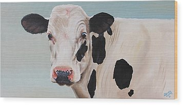 Cosmoo Cow Wood Print by Laura Carey