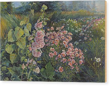Cosmos And Hollyhocks Wood Print