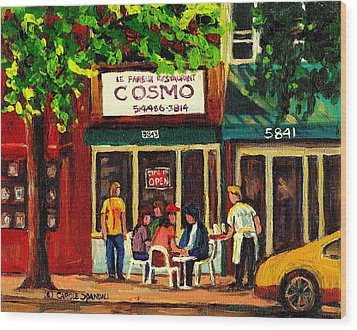Cosmos Famous Montreal Breakfast Restaurant Wood Print by Carole Spandau