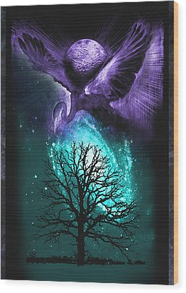 Wood Print featuring the painting Cosmos by Ragen Mendenhall