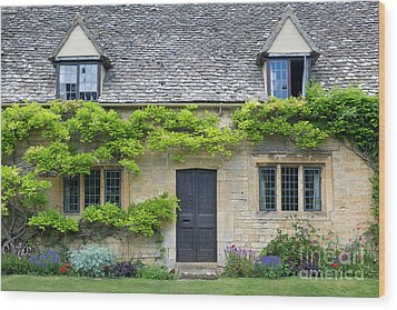 Wood Print featuring the photograph Cotswolds Cottage Home II by Brian Jannsen