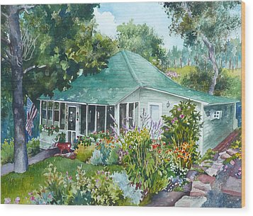 Wood Print featuring the painting Cottage At Chautauqua by Anne Gifford