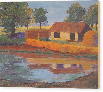 Cottage By The Pond Wood Print by Art Nomad Sandra  Hansen