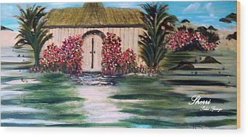 Wood Print featuring the painting Cottage By The Sea by Sherri  Of Palm Springs
