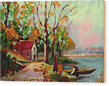 Cottage Country The Eastern Townships A Romantic Summer Landscape Wood Print by Carole Spandau