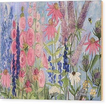 Cottage Flowers With Dragonfly Wood Print