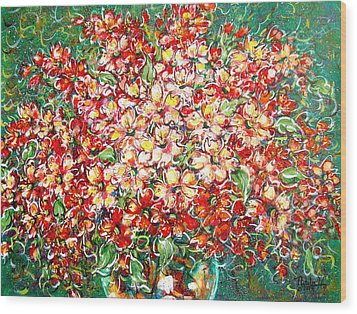 Wood Print featuring the painting Cottage Garden Flowers by Natalie Holland