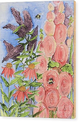 Cottage Garden Hollyhock Bees Blue Skie Wood Print