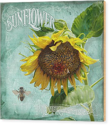 Cottage Garden - Sunflower Standing Tall Wood Print by Audrey Jeanne Roberts