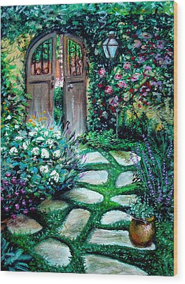 Wood Print featuring the pastel Cottage Gates by Elizabeth Robinette Tyndall