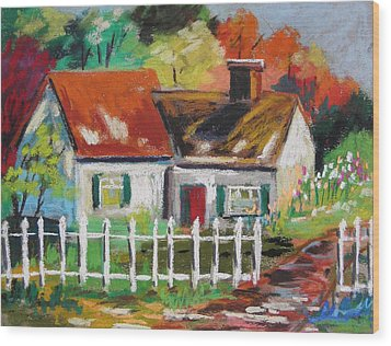 Cottage In The Sun Wood Print by John Williams