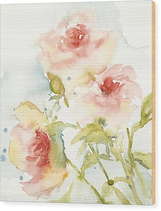 Cottage Roses Wood Print by Sandra Strohschein