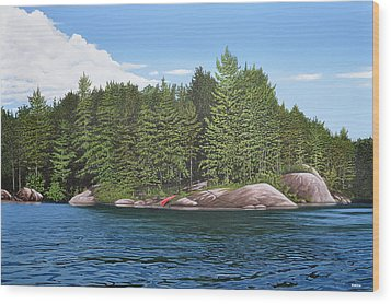 Wood Print featuring the painting Cottage View Silver Lake by Kenneth M Kirsch