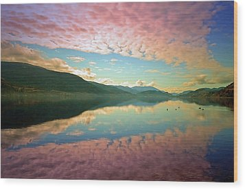 Wood Print featuring the photograph Cotton Candy Clouds At Skaha Lake by Tara Turner