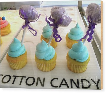 Wood Print featuring the photograph Cotton Candy Cupcakes by Beth Saffer