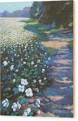 Cotton Field Wood Print by Jeanette Jarmon