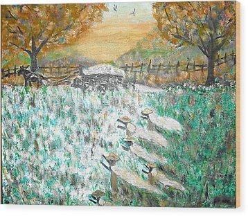 Cotton Pickers Wood Print by BJ Abrams