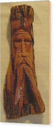 Cottonwood Bark  Wood Spirit Wood Print by Russell Ellingsworth