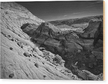 Cottonwood Creek Strange Rocks 7 Bw Wood Print