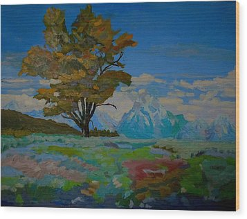 Wood Print featuring the painting Cottonwood On Teton Range by Francine Frank