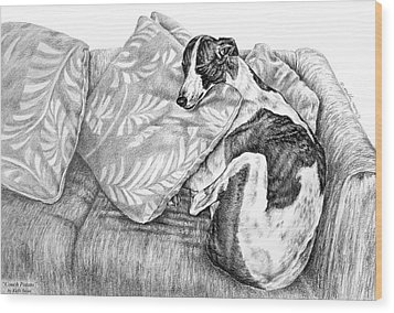 Couch Potato Greyhound Dog Print Wood Print