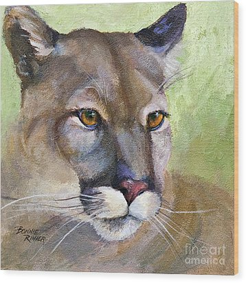 Wood Print featuring the painting Cougar 2 by Bonnie Rinier