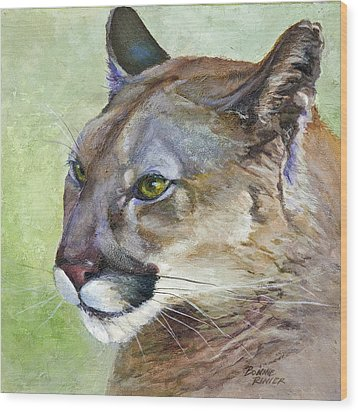 Wood Print featuring the painting Cougar by Bonnie Rinier