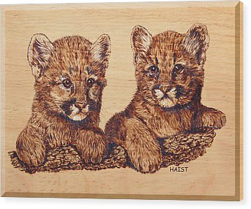 Wood Print featuring the pyrography Cougar Cubs by Ron Haist