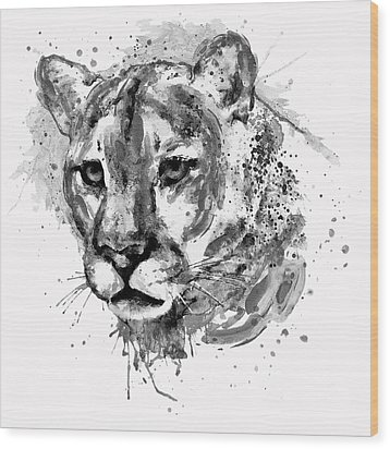 Wood Print featuring the mixed media Cougar Head Black And White by Marian Voicu