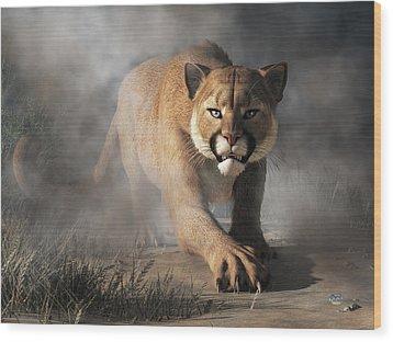 Wood Print featuring the digital art Cougar Is Gonna Get You by Daniel Eskridge