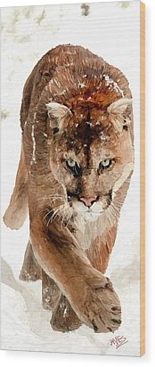 Wood Print featuring the painting Cougar In The Snow by James Shepherd