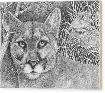 Cougar Wood Print by Lawrence Tripoli